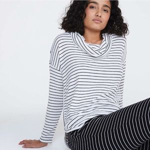 Lou & Grey Striped Cowlneck Sweater